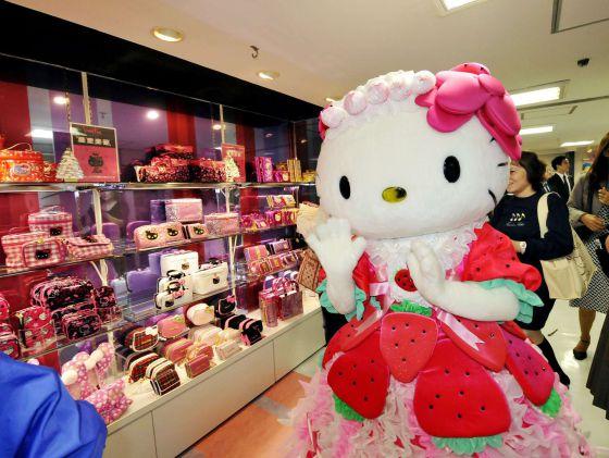Hello Kitty en la inauguración de una tienda en Tokio.