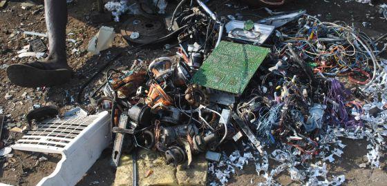 Basura electrónica en el vertedero de Agbogbloshie.