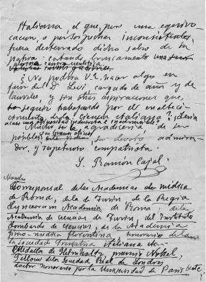 Borrador de la carta enviada por Cajal pidiendo la liberación del científico italiano Giuseppe Levi, en 1934.