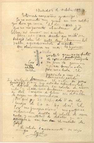 Última carta escrita por Cajal a Rafael Lorente de No el 15 de octubre de 1934, dos días antes de fallecer.