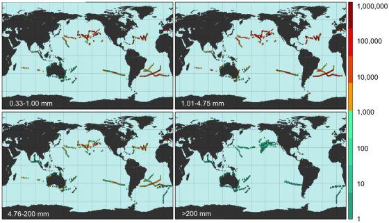 El gráfico muestra la abundancia de los plásticos clasificados por tamaños en las zonas estudiadas. Eriksen et al.