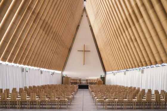 Cardboard Cathedral, en Christchurch (Nueva Zelanda), de Shigeru Ban.
