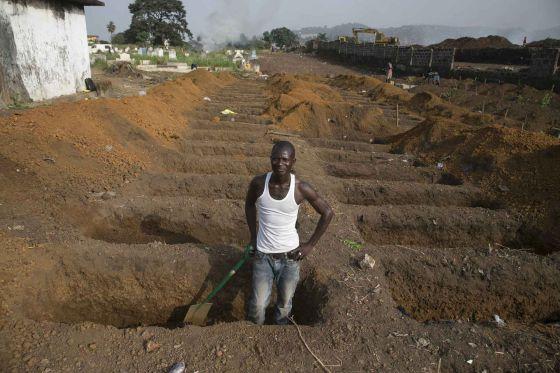 Nuevas tumbas cavadas esta semana en el cementerio de Freetown, en Liberia, donde la epidemia sigue a pesar del olvido mundial.