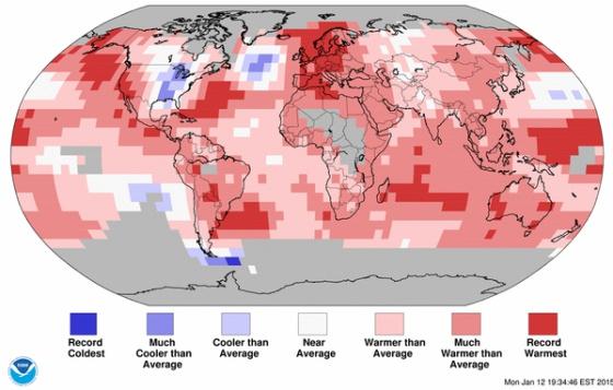 Records de calor (rojo) y de frío (azul) en 2014.