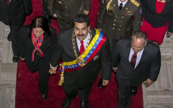 Maduro and his wife arrive at the National Assembly in Caracas.