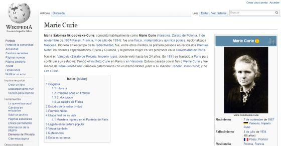 Solo en contados casos, las referencias a su condición de mujer son relevantes en la biografía de las grandes mujeres como es el de Marie Curie, esposa de otro físico y madre de otra premio Nobel.