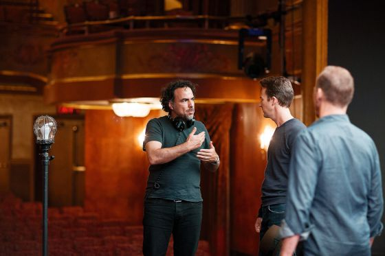 Iñárritu con el actor Edward Norton, en el rodaje de Birdman