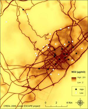 Mapa de la polución en Barcelona.
