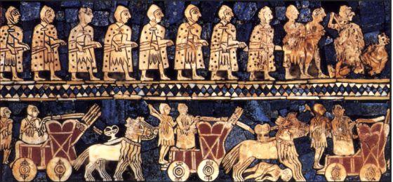 Un estandarte de la época de Ur, Mesopotamia.