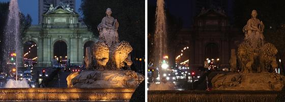 La Plaza de Cibeles, en Madrid, antes y durante La Hora del Planeta.