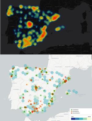 Doble mapa que muestra la densidad de 'start-ups' en España según la región (arriba) y la presencia de aceleradoras, incubadoras y 'coworking' (abajo). Los datos han sido proporcionados por Startupxplore data.