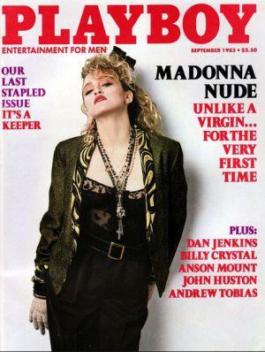 Madonna en la portada de Playboy de 1985.