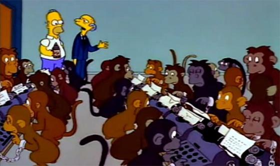 Los monos escribiendo a máquina del señor Burns.