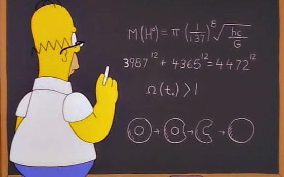 Homer, frente a una ecuación que predice la masa del bosón de Higgs.