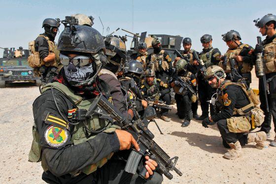 Miembros del Cuerpo de Operaciones Especiales de Irak. Occidente se enfrenta al Estado Islámico a través de los kurdos e iraquíes en el campo de batalla y mediante ataques aéreos.
