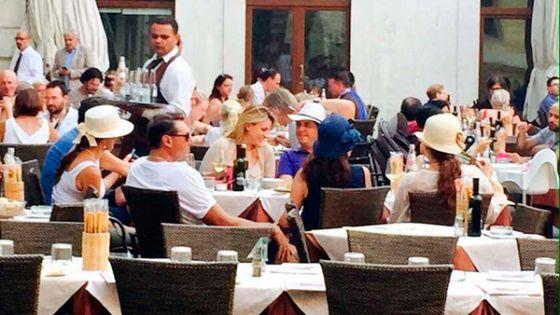 Rivera, en un restaurante de Verona