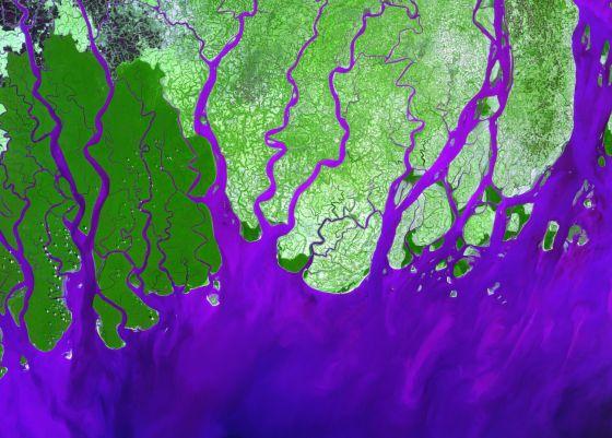 El delta del río Ganges, que muere en el Índico (color añil) es uno de los más amenzados por las inundaciones.