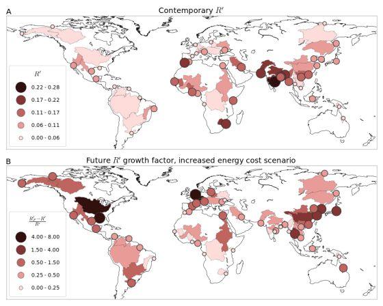 El mapa muestra los deltas estudiados y sus cuencas. Arriba, situación de riesgo actual medida por el color y población afectada (diámetro del círculo). Abajo, situación futura en un escenario de costes de infraestructuras elevados.