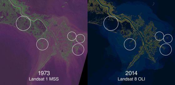 El satélite Landsat muestra el avance del mar en el delta del Misisipi entre 1973 y 2014.
