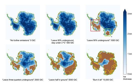 Evolución de la capa de hielo desde el escenario más optimista (cero emisiones) hasta el más pesimista (uso de todo el petróleo)