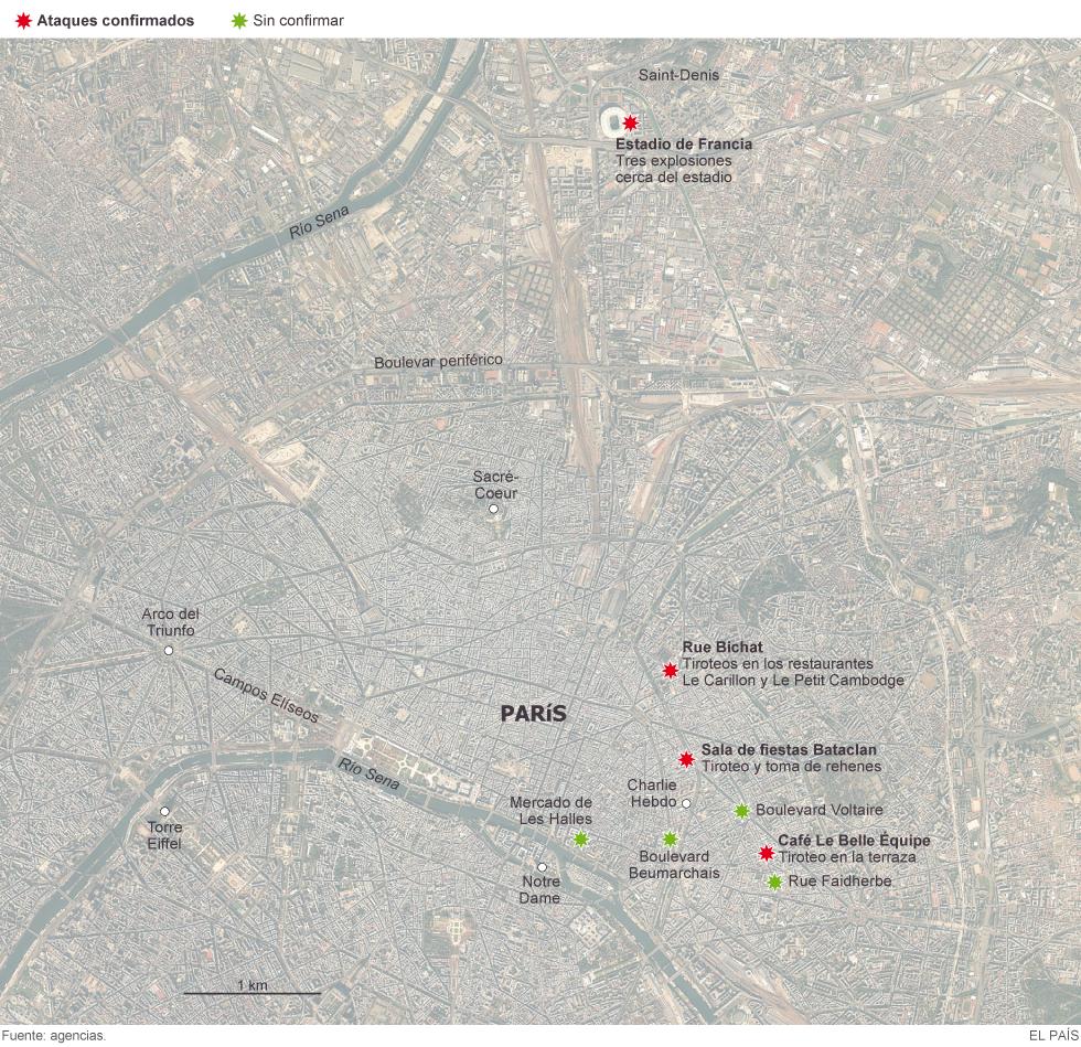 Mapa de los atentados de París