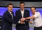 Rivera, Sánchez e Iglesias en el El País debate
