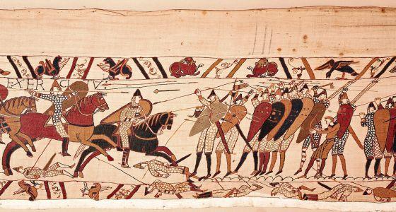 El tapiz de Bayeux, del siglo XI.