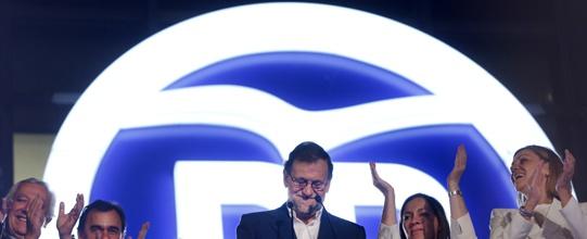 Mariano Rajoy anoche en la sede del PP.  AFP