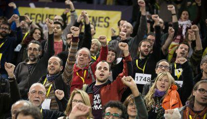 Militantes de la CUP, en una asamblea el pasado mes de noviembre.