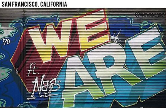 Foto de un grafiti del álbum de Justin Bieber