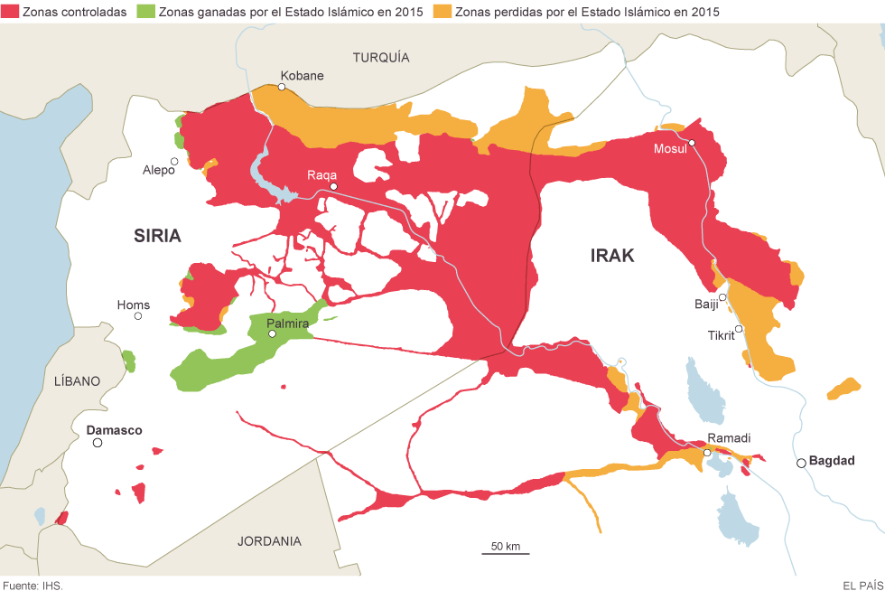 Mapa del Estado Islámico en Siria e Irak durante 2015