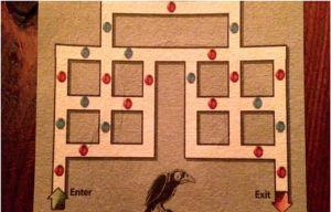 Se trata de entrar por la izquierda en el circuito de la figura y salir por la derecha, pasando alternativamente por puntos de distinto color, o sea, según la secuencia rojo-azul-rojo-azul-rojo…