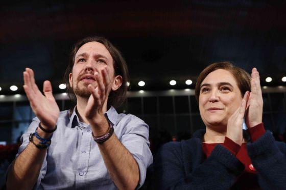 Pablo Iglesias y Ada Colau en un acto de la campaña para las elecciones del 20-D.