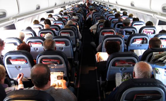 Passengers inside an Airbus plane.