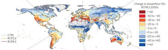 El mapa muestra las zonas con aumento (azul) o reducción (rojo) del cauce de los ríos.