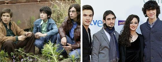 En la primera foto, Carlitos (Ricardo Gómez), Josete (Santiago Crespo) y Luisito (Manuel de Dios). Al lado, 15 años después: Carlos, Luis, Karina (Elena Rivera) y Josete