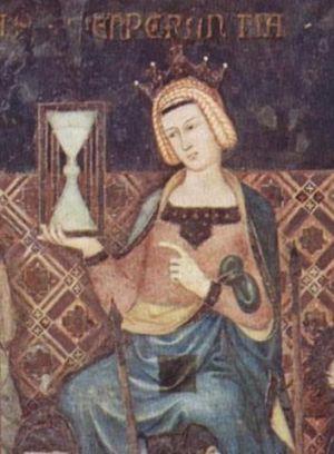 Una de las imágenes más antiguas del reloj de arena está en este cuadro, 'Templanza', de Ambrogio Lorenzetti (1338).