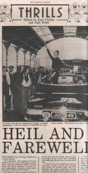 Portada del semanario 'New Musical Express', con la foto de Bowie, en la estación Victoria, supuestamente haciendo el saludo nazi.