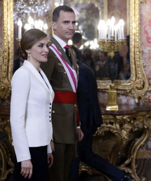 The Spanish royals, Felipe VI and Letizia, at the 2016 Pascua Militar.