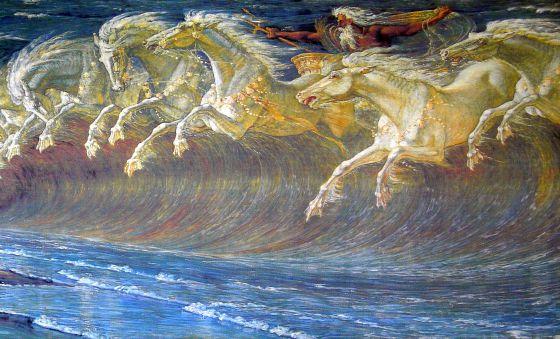 'Los corceles de Neptuno', lienzo de Walter Crane (1845-1915) que simboliza con el galope de los caballos la fuerza de las olas.