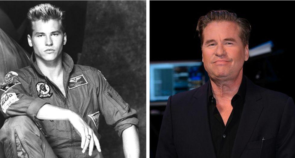 A la izquierda, un atractivo Van Kilmer en 'Top gun' (1986); a la derecha, en un acto reciente en Los Ángeles.