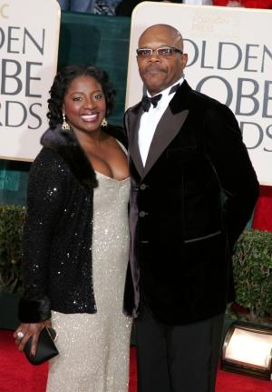 Jackson y su mujer, LaTonya Richardson, en una ceremonia de los Globos de Oro. Llevan casados 35 años.