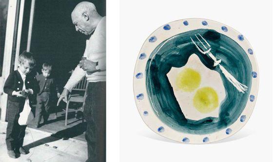 Miguel Bosé y Pablo Picasso, a la izquierda. A la derecha, una de las obras que se subastará.