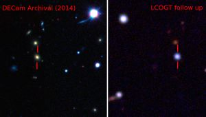 Destacada con barras rojas, la galaxia que alberga la supernova observada antes y después de su estallido.