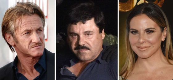 Sean Penn, Joaquín Guzmán y Kate del Castillo.