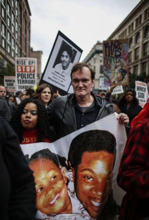 Quentin Tarantino, en la marcha contra la brutalidad policial en Nueva York