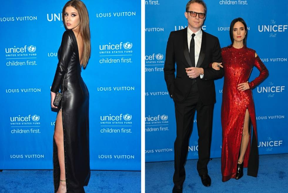 La actriz Adèle Exarchopoulos, el actor Paul Bettany y la actriz Jennifer Connelly, vestidos de Louis Vuitton en la Gala Unicef.