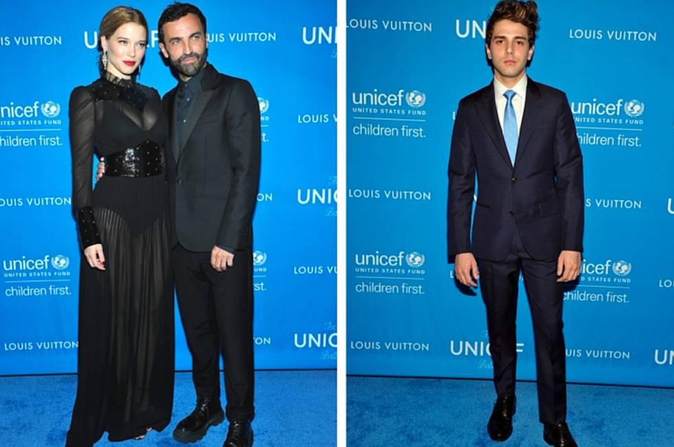 A la izquierda, la actriz Adèle Exarchopoulos y el director creativo de Louis Vuitton, Nicolas Ghesquière. A la derecha, el cineasta Xavier Dolan.