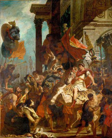 En La justicia de Trajano (1840), Delacroix recrea este episodio en el que Trajano, antes de partir a la guerra, atiende a una mujer que pide justicia para su hijo.