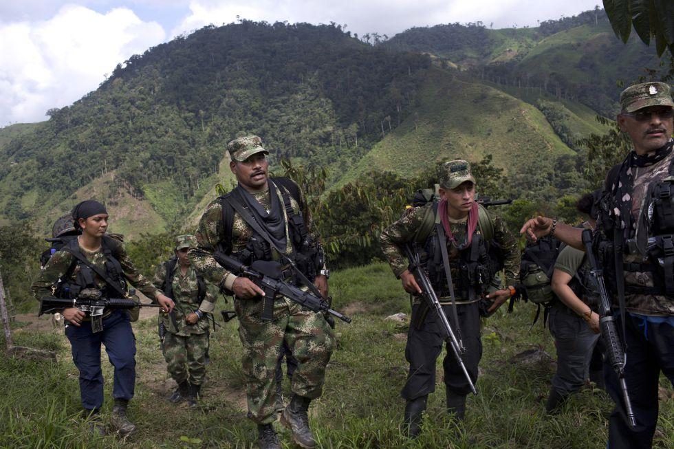Guerrilleros de las FARC, a principios de 2016, en la región de Antoquia.